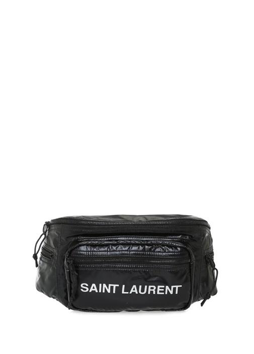 SAINT LAURENT Nuxx Siyah Logo Baskılı Kadın Bel Çantası