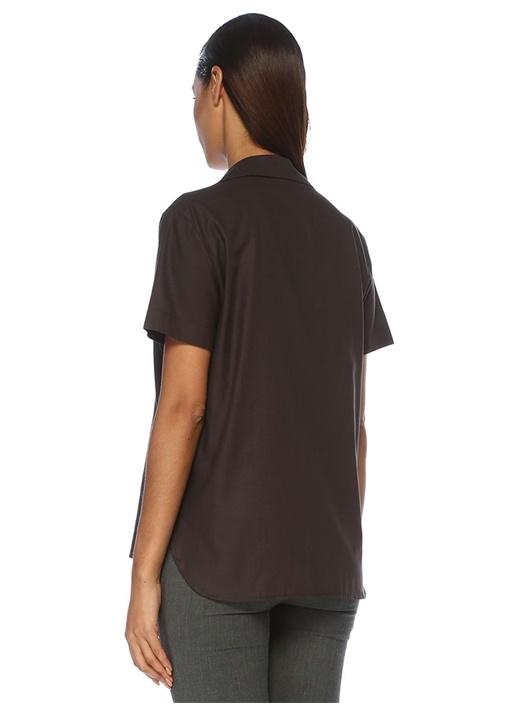 Antrasit Apaç Yaka Kısa Kol Gömlek