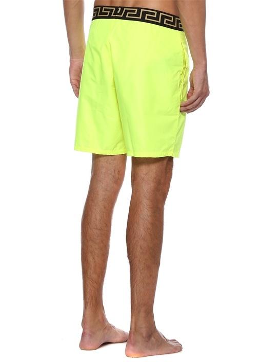 Neon Sarı Beli Logo Bantlı Mayo