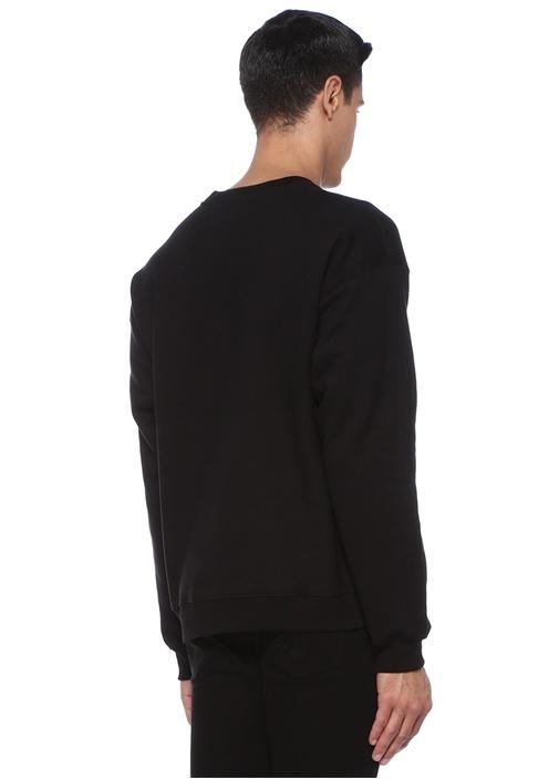Siyah Logo Nakışlı Sweatshirt