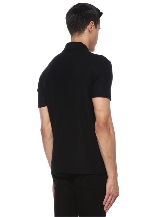 Medusa Siyah Polo Yaka Nakışlı T-shirt
