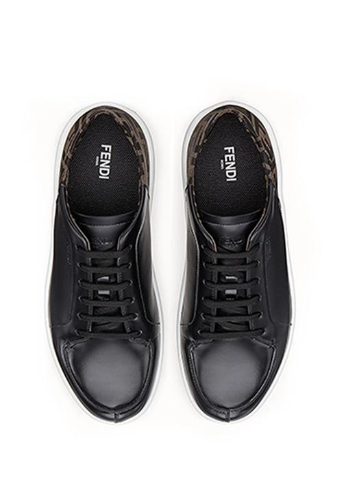 Siyah Logo Baskılı Erkek Deri Sneaker