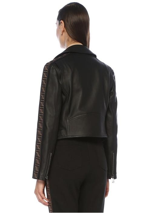 Siyah Kolları Logo Şeritli Deri Ceket