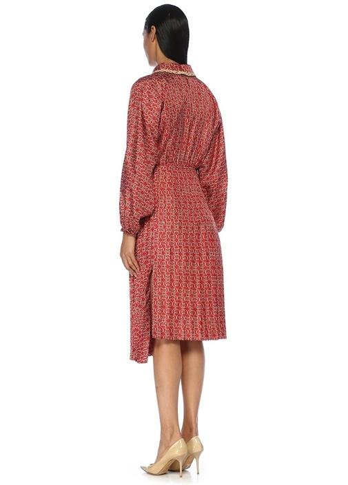 Kırmızı Asimetrik Pileli Midi Twill İpek Elbise