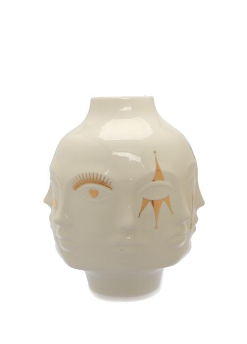 Gilded Muse Large Beyaz Gold Yüz Kabartmalı Vazo