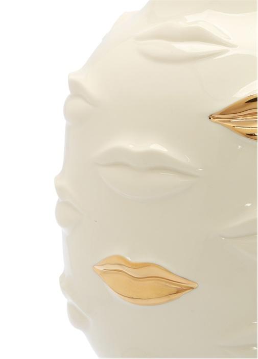 GildedBeyaz Gold Dudak Kabartmalı Porselen Vazo