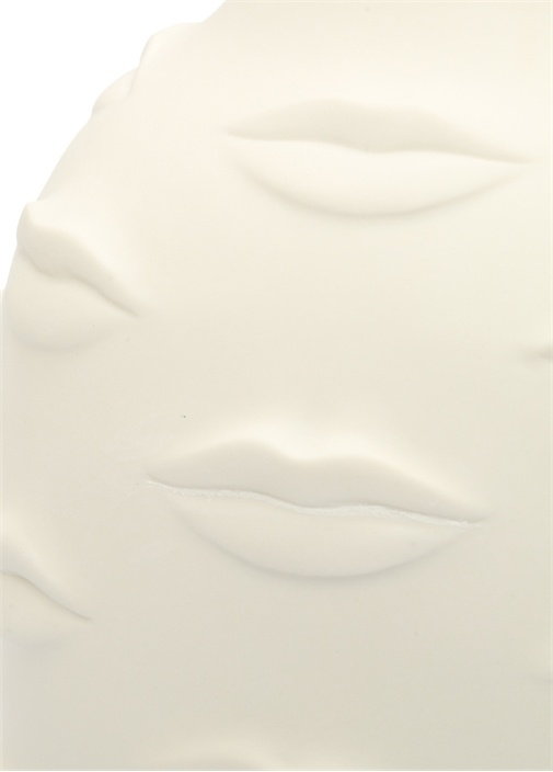 GalaBeyaz Dudak Figürlü Porselen Vazo