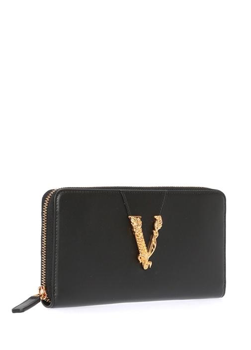 Virtus Siyah Gold Logolu Kadın Deri Cüzdan