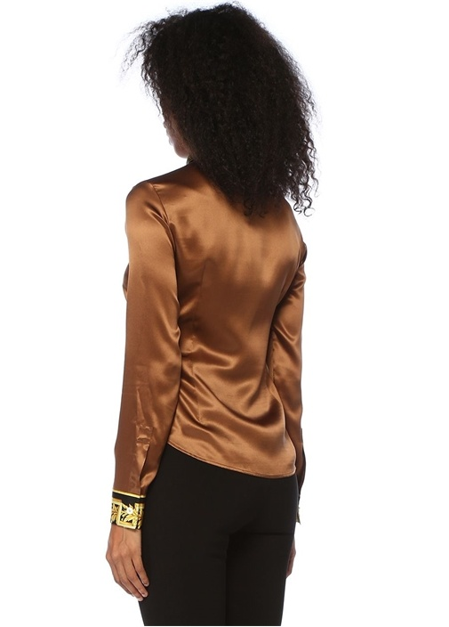 Kahverengi Barok Desen Garnili Twill İpek Gömlek