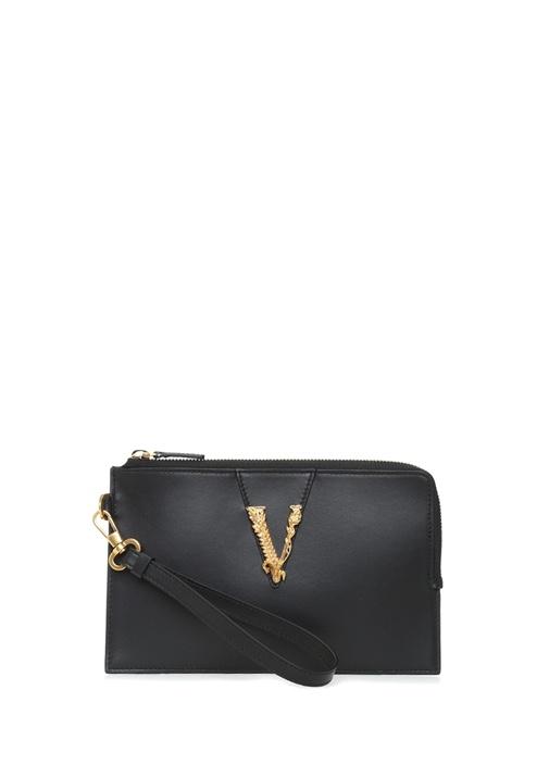 Virtus Gold Siyah Logolu Kadın Deri Mini Kılıf