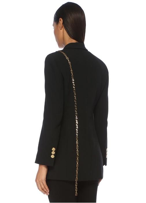 Siyah Zincir Detaylı Uzun Kruvaze Blazer Ceket