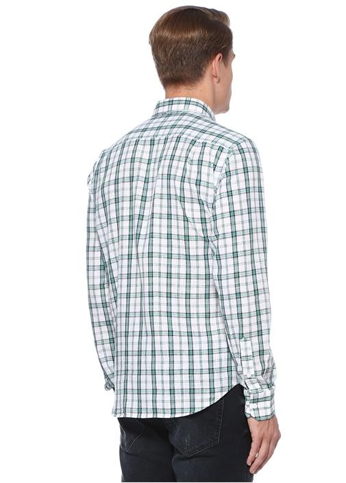 Comfort Fit Yeşil Düğmeli Yaka Kareli Gömlek