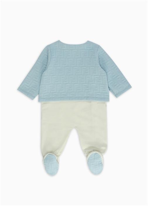 Mavi Beyaz Logo Dikişli 3lü Bebek Uyku Tulumu Seti