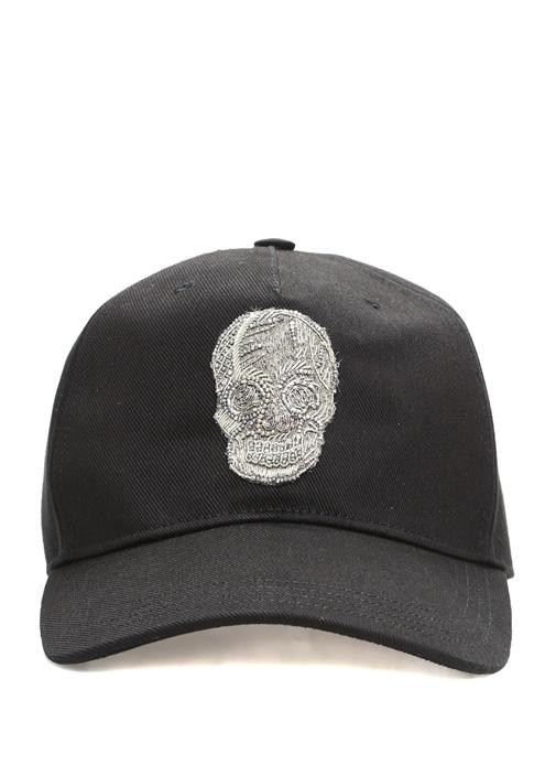 Siyah Silver Kuru Kafa Detaylı Erkek Şapka