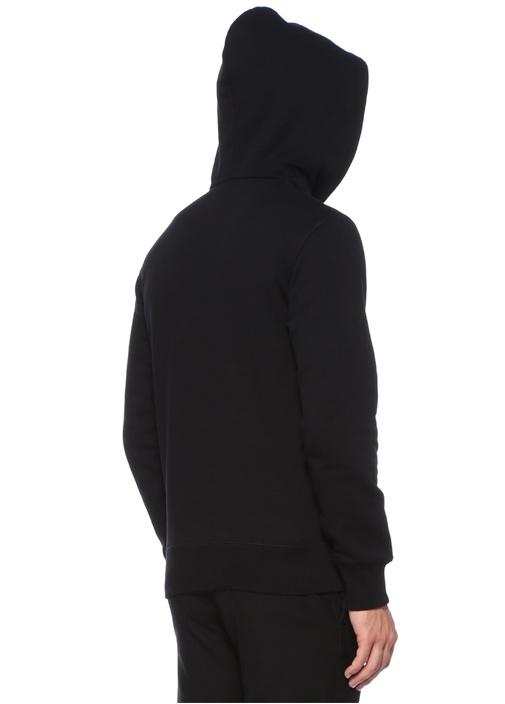 Siyah Kapüşonlu Kuru Kafa Nakışlı Sweatshirt