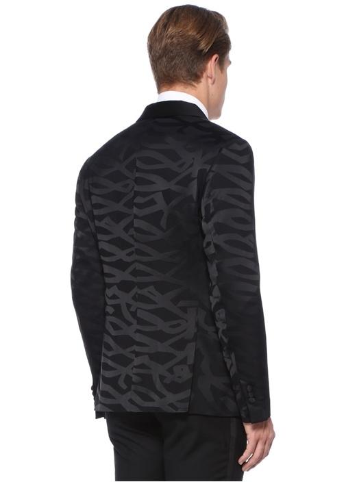 Slim Fit Siyah Şal Yaka Kamuflaj Desenli Ceket