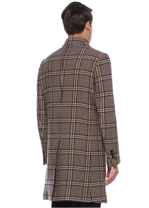 Slim Fit Kelebek Yaka Kazayağı Desenli Yün Palto