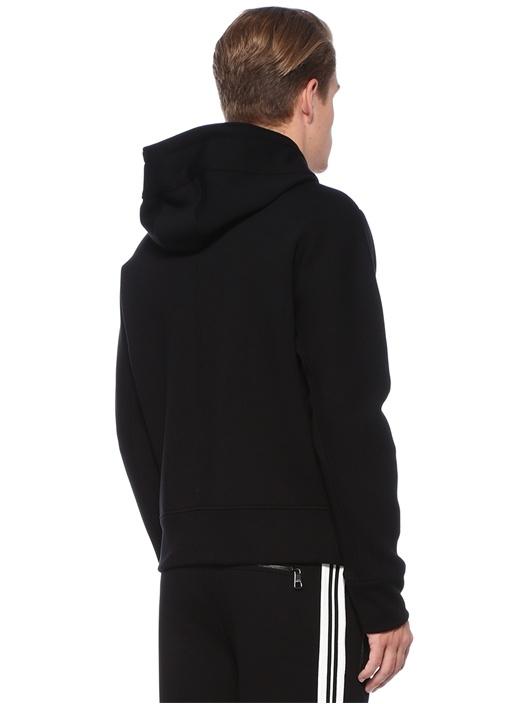 Siyah Beyaz Kapüşonlu Şimşek Baskılı Sweatshirt