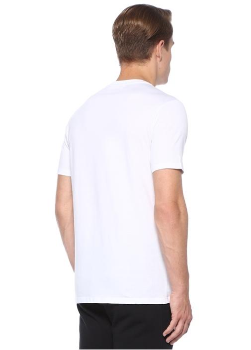 Beyaz Bisiklet Yaka Fotoğraf Baskılı Basic T-shirt