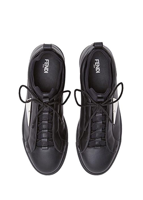 Siyah Metal Plaklı Erkek Deri Sneaker