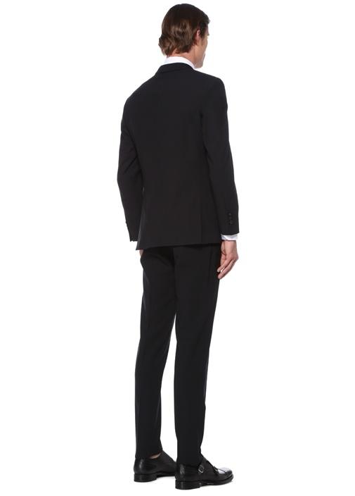 Drop 7 Siyah Kelebek Yaka Yün Takım Elbise