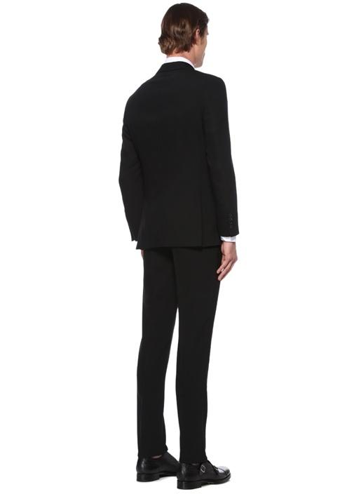 Drop 7 Siyah Kelebek Yaka Dokulu Yün Takım Elbise
