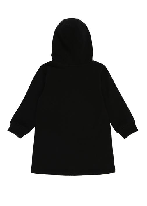 Siyah Kapüşonlu Logo Baskılı Kız Çocuk Elbise