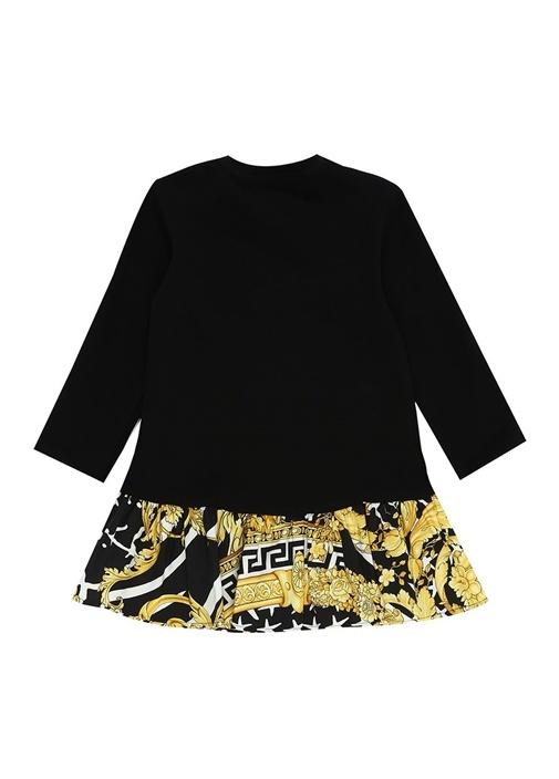 Siyah Gold Barok Baskılı Logolu Kız Bebek Elbise