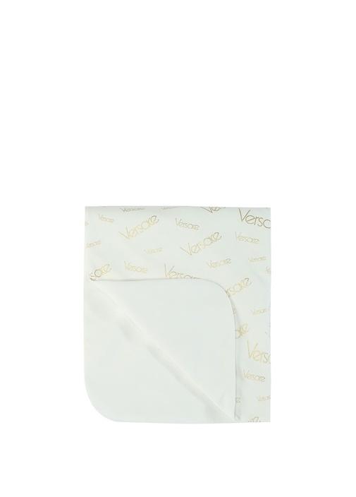 Medusa Beyaz Logo Baskılı Bebek Battaniye