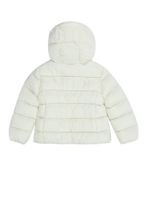 Chevril Beyaz Kapüşonlu Logolu Kız Çocuk Puff Mont