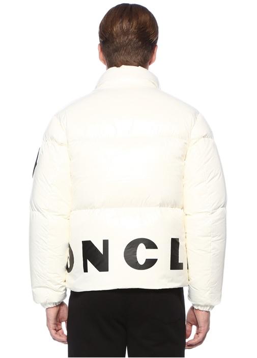 Friesian Beyaz Dik Yaka Kontrast LogoluPuff Mont