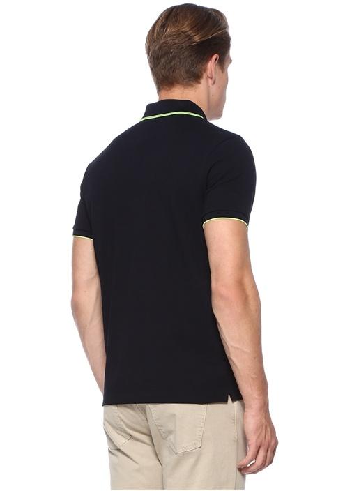 Lacivert Polo Yaka Neon Şeritli Dokulu T-shirt