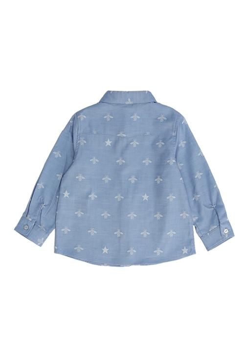 Mavi Arı Jakarlı İngiliz Yaka Erkek Bebek Gömlek