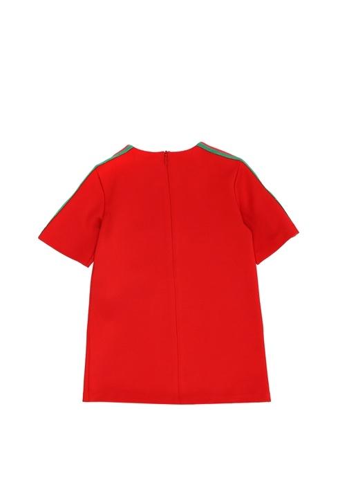 Kırmızı Kontrast Şeritli Kız Bebek Elbise