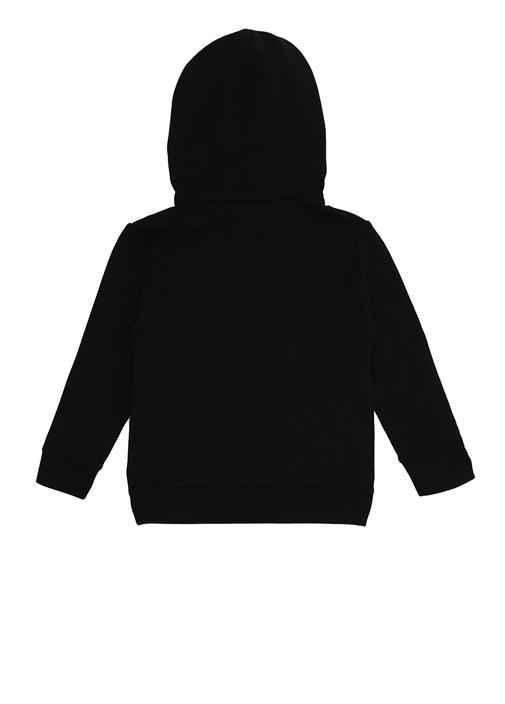 Siyah Kapüşonlu Nakışlı Erkek Çocuk Sweatshirt