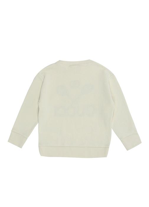Beyaz Raket Nakışlı Logolu Erkek Çocuk Sweatshirt