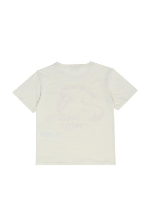 Beyaz Baskılı Logolu Kız Çocuk Basic T-shirt