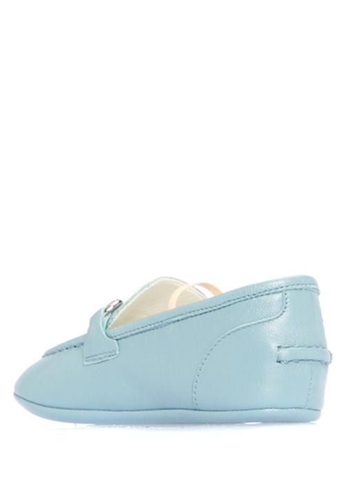 Mavi Metal Bantlı Erkek Bebek Deri Ayakkabı