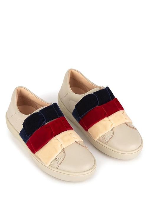 Beyaz Fiyonk Detaylı Kız Çocuk Sneaker