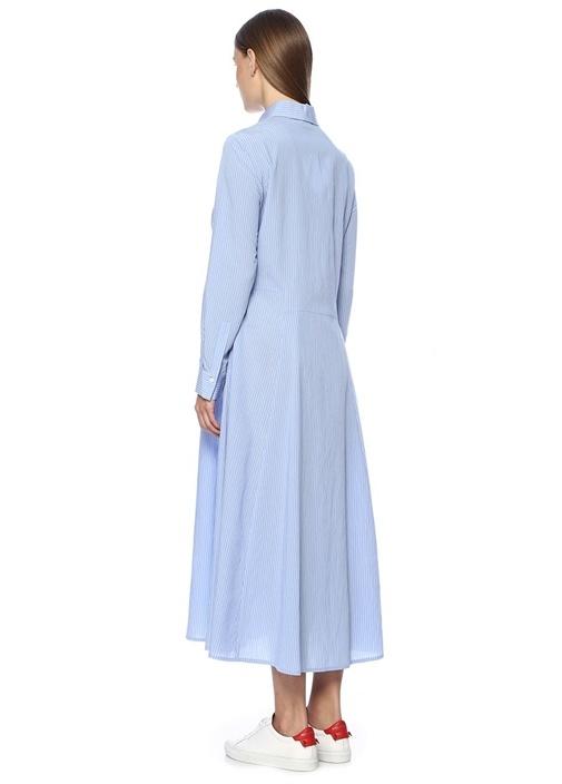 Mavi Çizgili İngiliz Yaka Midi Elbise