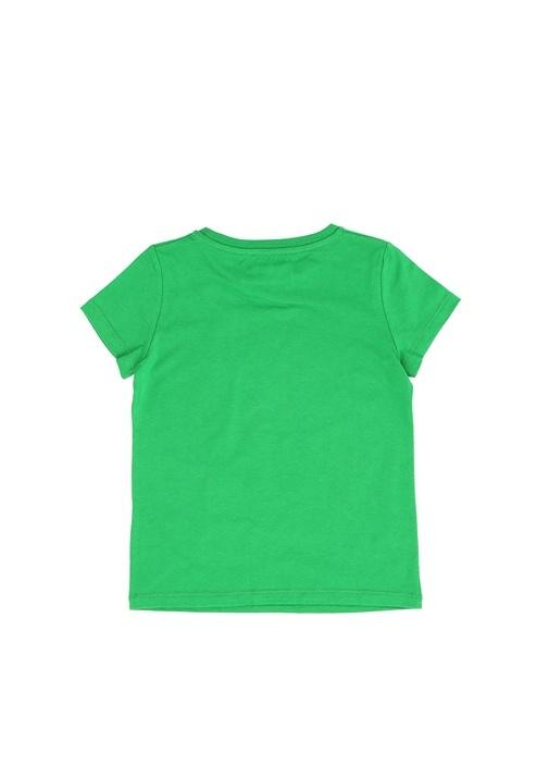 Yeşil Pembe Sim Baskılı Kız Çocuk T-shirt