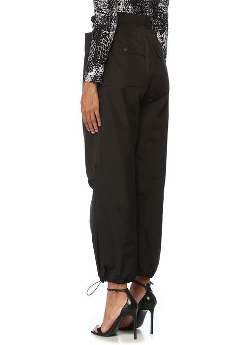 Siyah Yüksek Bel Paçası Büzgülü Kargo Pantolon