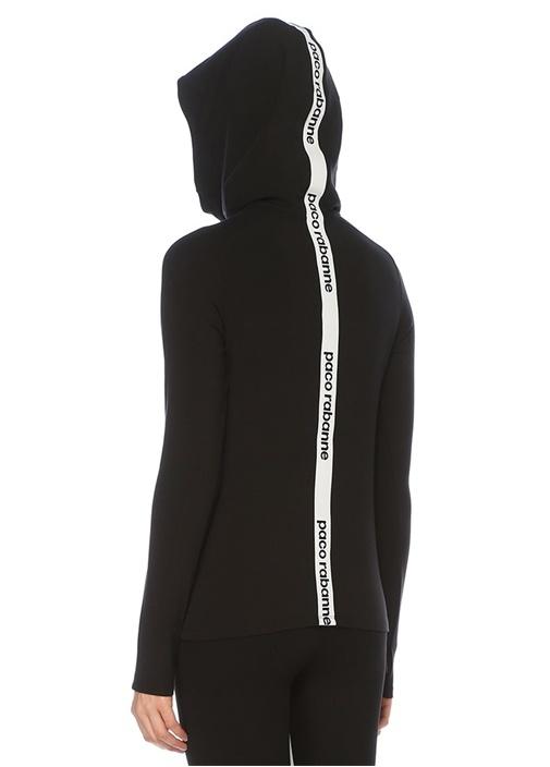 Siyah Kapüşonlu Arkası Logo Bantlı Sweatshirt
