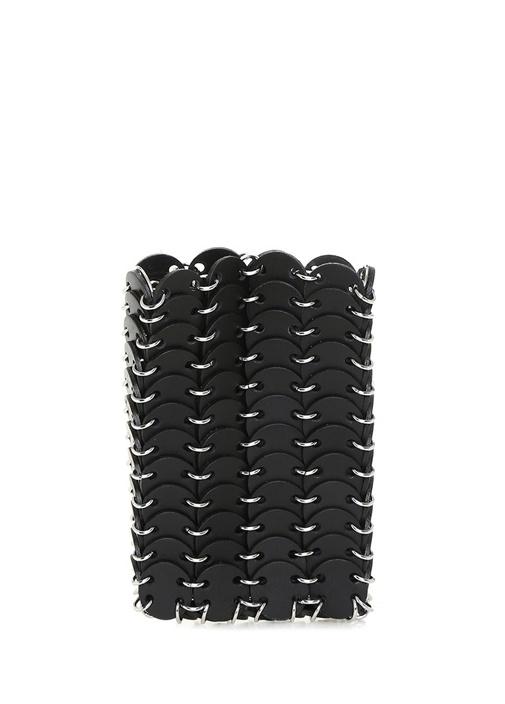Siyah Pul Form Detaylı Kadın Deri Abiye Çanta