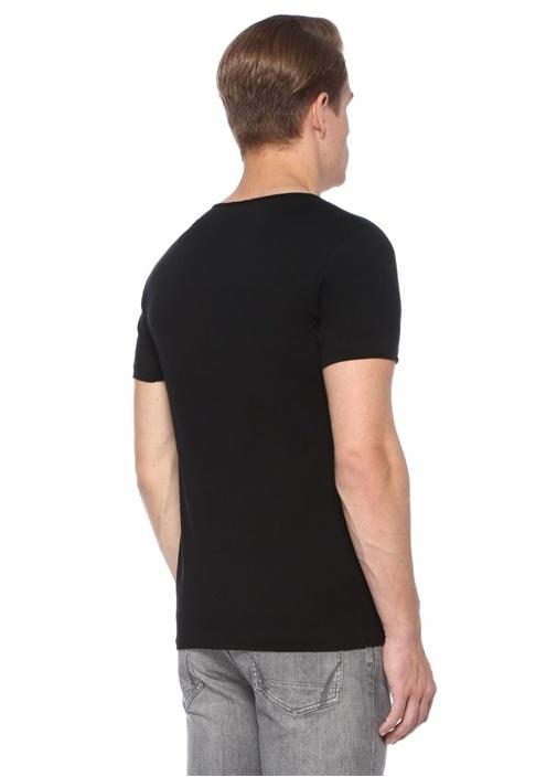 Tonic Siyah V Yaka Basic T-shirt