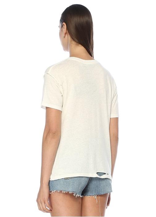 Dime V Yaka Yıpratma Detaylı T-shirt