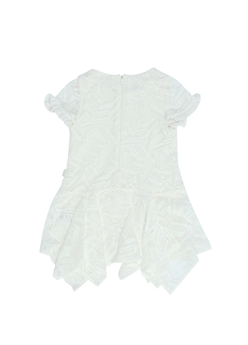 Beyaz Asimetrik Kesim Kız Çocuk Dantel Elbise