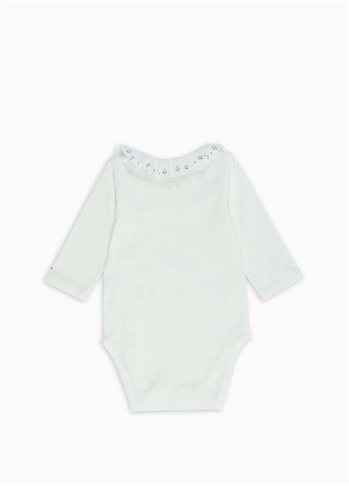 Beyaz Yakası Fırfırlı Kız Bebek Body