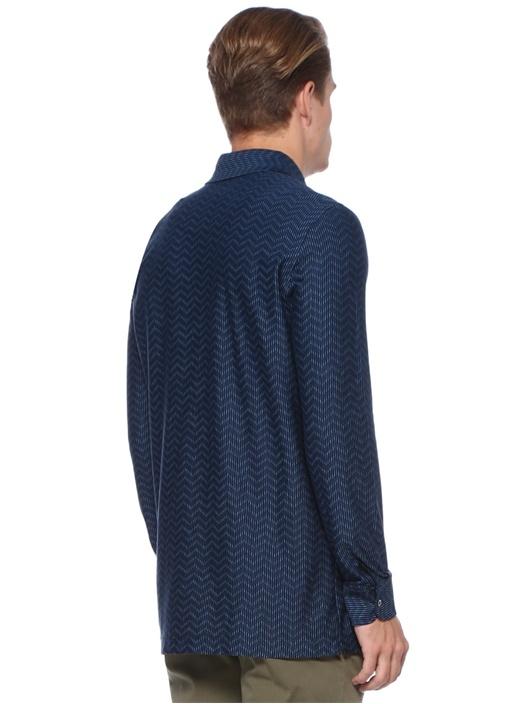 Lacivert İngiliz Yaka Zikzak Desenli Gömlek