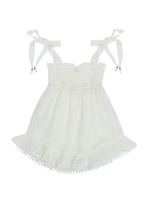Verity Beyaz Çiçek Nakışlı Kız Çocuk Elbise